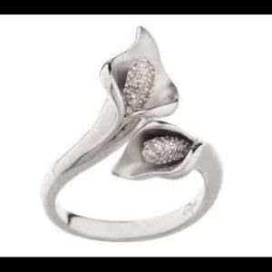Jewelry - Calla Lily Affinity pave diamond 925 ring NWOT